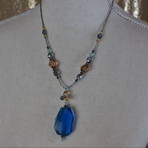 Jewelry - Sapphire like pendant with crystal beads